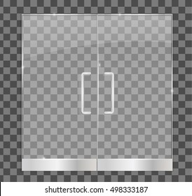 Transparent glass door, isolated, vector illustration. For shop, store, mall, boutique , office building