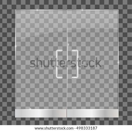 Transparent Glass Door Isolated Vector Illustration Stock Vector