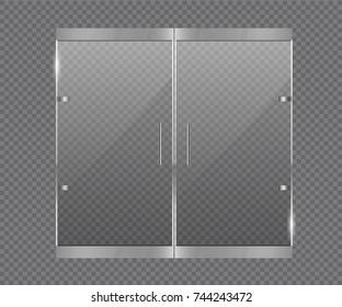 Transparent glass door. Glass door office or shopping center
