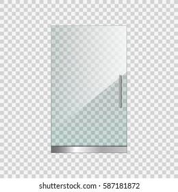 Transparent glass door on simple background, vector illustration