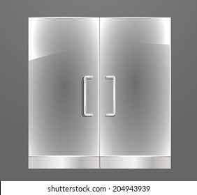 Transparent Glass door with steel handles, vector illustration