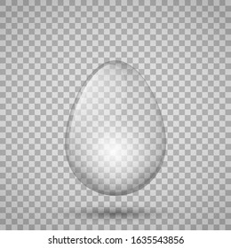 Transparent glass egg. Isolated vector illustration. Element for your design.
