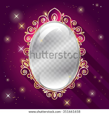 transparent glass frame vintage mirror template stock vector