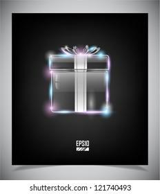 Transparent glass gift box on dark background. Vector eps10