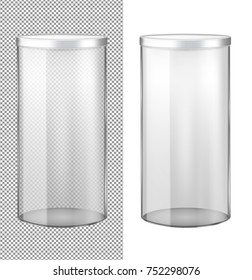 Transparent glass jar with metal lid.