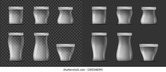 Transparent glass jar with screw cap.