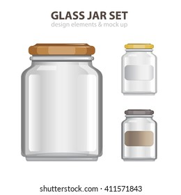 Transparent Glass Jar set. Realistic empty banks.