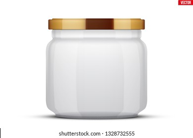 Transparent Glass Jars for canning and preserving. With cover lid. Homemade kitchen conservation fruits and vegetables. Vector Illustration isolated on white background.