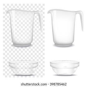 Transparent glass and jug. Vector illustration