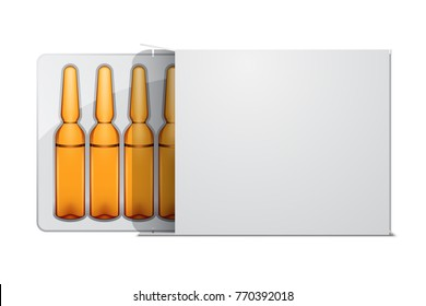 Transparent glass medical ampoules in white package, vector illustration