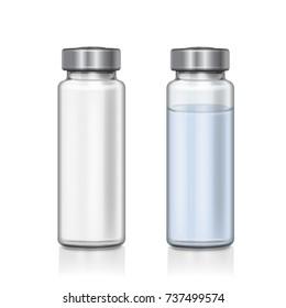 Transparent glass medical vial realistic 3d vector illustration
