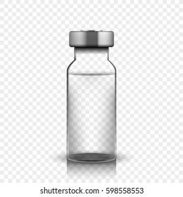 Transparent glass medical vial, vector illustration on simple background
