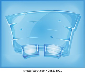 Transparent Glass Panel For Ui Game/ Illustration of a cartoon design transparent funny glass or crystal dashboard with buttons, for ui software or commercial agreement on tablet pc
