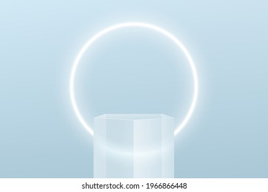 Transparent glass pentagon shape pedestal podium. Bright blue minimal wall scene and glowing neon ring shape. Vector rendering 3d shape for product display presentation. Pastel color abstract room.