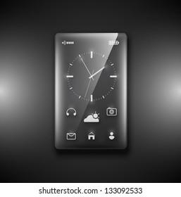 Transparent glass phone on dark background. Eps 10