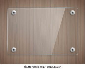 Transparent glass plate mock up on brown wooden background. Vector illustration