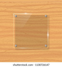 Transparent glass plate mock up. Yellow wooden background. Decorative graphic design element. Plastic glossy panel with reflection, shadow.