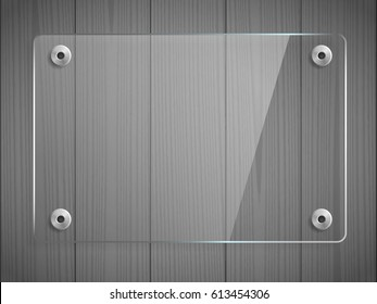 Transparent glass plate mock up. Grey wooden background. See through banner with mounts. Decorative graphic design element. Plastic glossy panel with reflection, shadow. Realistic vector illustration