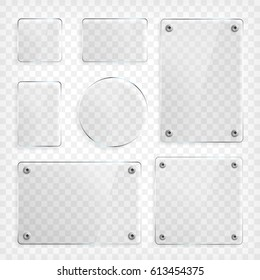 Transparent Glass plates set. Square shape, rectangle and round circle. See through mock up with mounts. Plastic banners with reflection and shadow. Photo realistic vector illustration