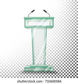 Transparent Glass Podium Tribune Vector. Rostrum Stand With Microphones. Isolated On Transparent Background Illustration. Business Presentation Speech