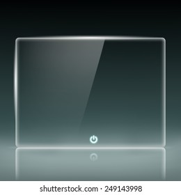Transparent glass screen with a button