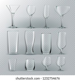 Transparent Glass Set Vector. Transparent Empty Glasses Goblets For Water, Alcohol, Juice, Cocktail Drink. Realistic Bright Illustration