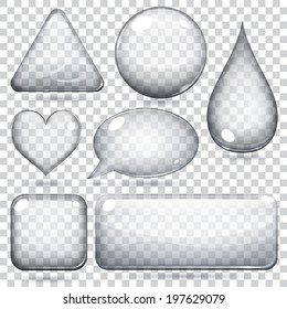 Transparent glass shapes or buttons various forms