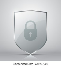 Transparent glass shield with lock on grey background, vector illustration