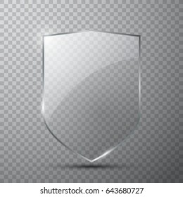 Transparent glass shield on simple background, vector illustration