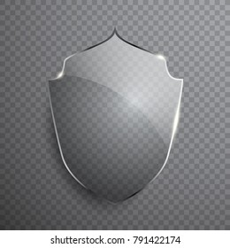 Transparent glass shield sign on simple background, vector illustration