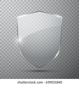 Transparent glass shield, vector illustration