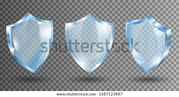 Transparent glass shields. Realistic vector illustration. Blue acrylic security plate with reflections and light sparkles. Isolated front and side view.