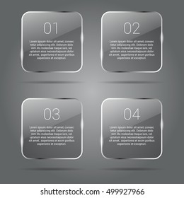 Transparent Glossy Banners Infographics