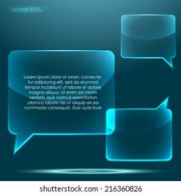 Transparent glossy glass speech bubble set