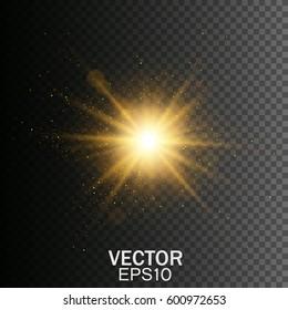 Transparent glow light effect. Star burst with sparkles. Gold glitter texture.