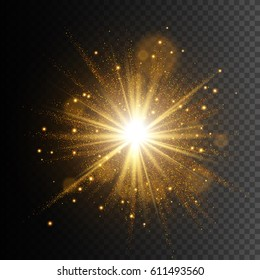 Transparent glow light effect. Star burst with sparkles. Gold glitter texture