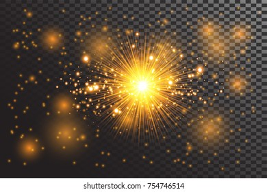 Transparent glow light effect. Star burst with sparkle. Gold glitter.Vector illustration for decoration with ray sparkles. Bright star.Blurred shiny  dust. Glowing bright flare with de-focused bokeh