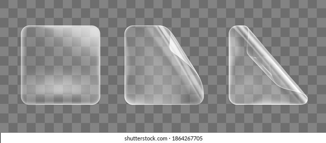 Transparent glued square stickers with curled corners mock up set. Blank adhesive paper or plastic sticker label with curled effect. Template label tags close up. 3d realistic vector icon