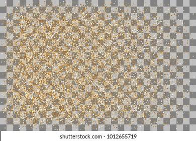 Transparent gold background luxury shine foil vector. Carnival glitter design. Shine banner card sparkle. Decorative festive holiday backdrop. Random falling shimmer dust golden confetti.