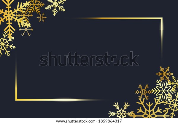 Transparent gold frame angles with golden snowflakes. Banner for Merry Christmas and New Year text. Golden rectangle corners with gold snowflake. Vector.