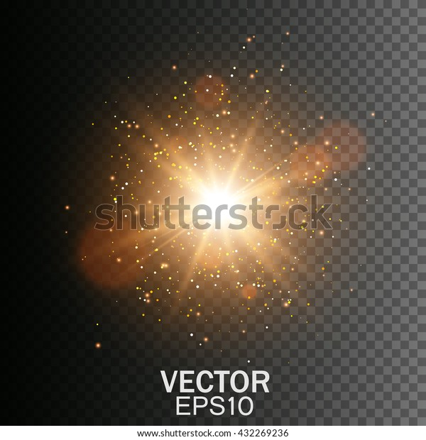 Transparent Golden Glow light effect. Star burst with sparkles