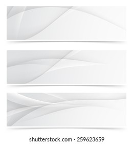 Transparent gray smooth lines header collection soft swoosh wave layout. Vector illustration