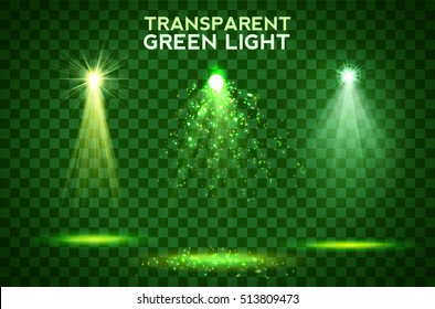 Transparent green light effects on a dark background. Spotlights, flare, explosion and stars. Vector