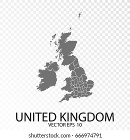 Transparent - Grey Map of United Kingdom. Vector Eps 10.