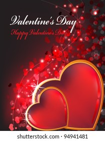 transparent hearts in a gold sparkling frame on a background with set of small hearts. Valentines Day romantic card.