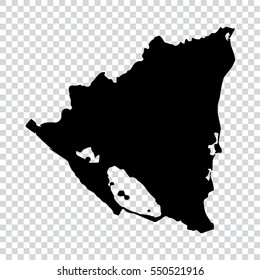 Transparent - high detailed black map of Nicaragua. Vector illustration eps 10.