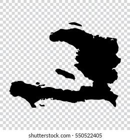 Transparent - high detailed black map of Haiti. Vector illustration eps 10.