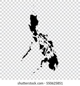 Transparent - high detailed black map of Philippines. Vector illustration eps 10.