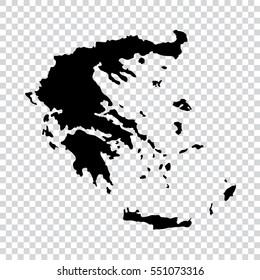 Transparent - high detailed black map of Greece. Vector illustration eps 10.