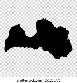 Transparent - high detailed black map of Latvia. Vector illustration eps 10.